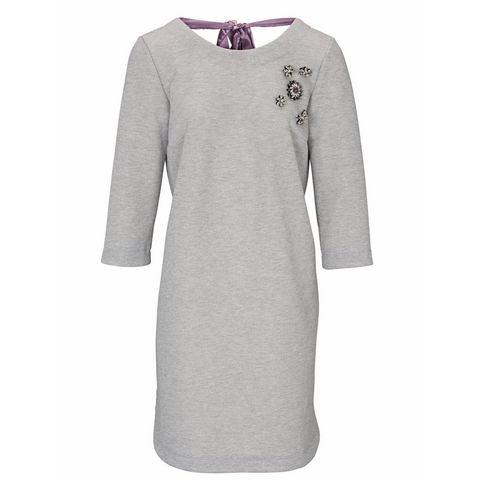 jurk met ronde hals grijs