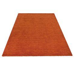 wollen kleed, »gabbeh uni«, theko exklusiv, rechthoekig, hoogte 15 mm, met de hand geweven oranje