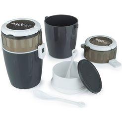 maxxmee vershoudtrommel ideaal voor het gescheiden meenemen en bewaren van salade  dressing, muesli  yoghurt (set, 4-delig) grijs