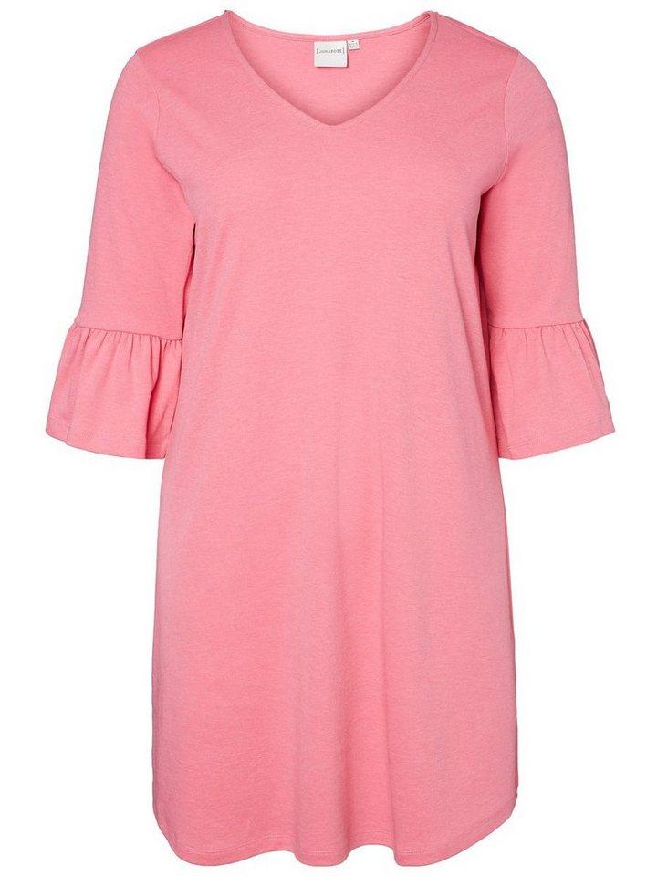 Junarose 3/4-mouw jurk roze