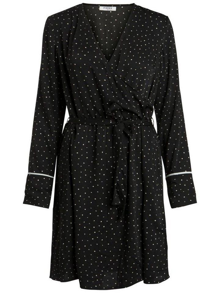 Pieces Wikkel jurk zwart