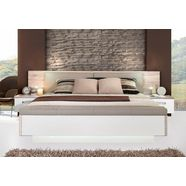 forte ledikant rondino, met bekleed hoofdbord en ledverlichting, naar keuze met of zonder bedbank beige