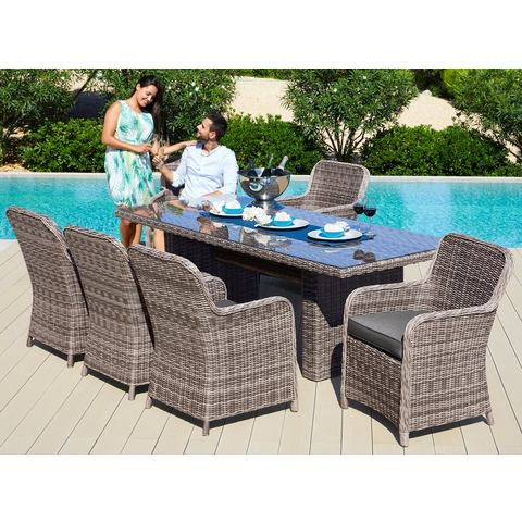 Tuinmeubelset Korsika, 17-dlg., 8 fauteuils, tafel 230x100 cm, poly-rotan, natuur