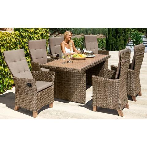 Tuinmeubelset Toskana Deluxe, 13-dlg., 6 fauteuils, tafel 185x90 cm, poly-rotan/ acacia