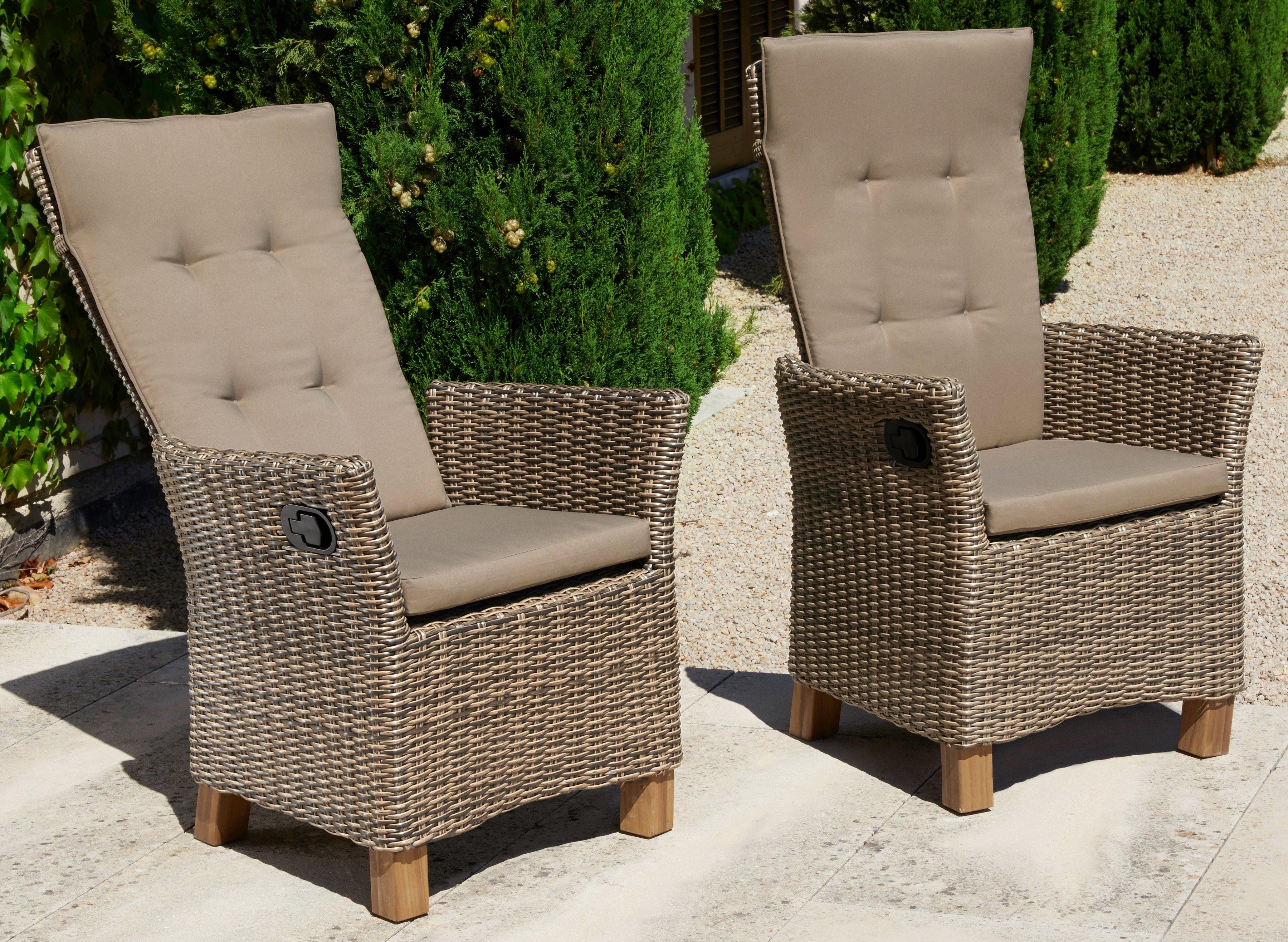 2 Verstelbare Tuinstoelen.Merxx Tuinstoel Toscane Set Van 2 Poly Rotan Verstelbaar