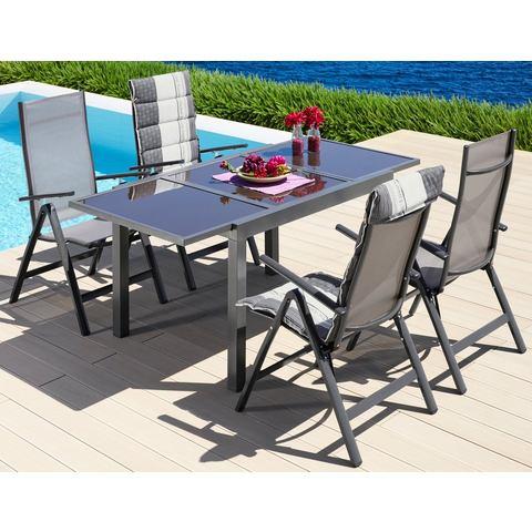 MERXX Tuinmeubelset 5 st., 4 klapstoelen, tafel 90x120-180cm