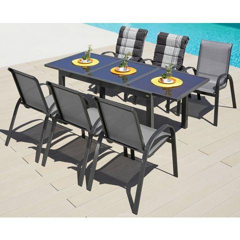 Tuinmeubelset Amalfi, 7-dlg., 6 fauteuils (stapelbaar), tafel 200x90 cm