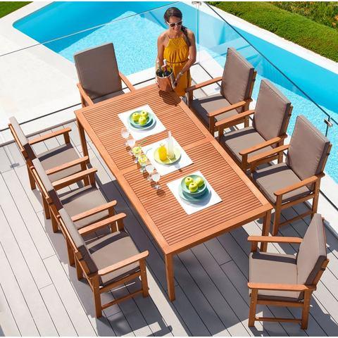 Tuinmeubelset Montana, 17-dlg., 8 fauteuils, tafel 220x110 cm, eucalyptus, bruin