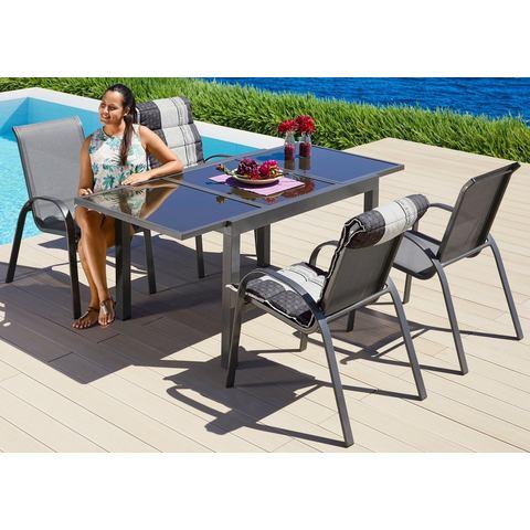 MERXX Tuinmeubelset Amalfi, 5 stuks, 4 stapelstoelen, tafel 90x120-180 cm