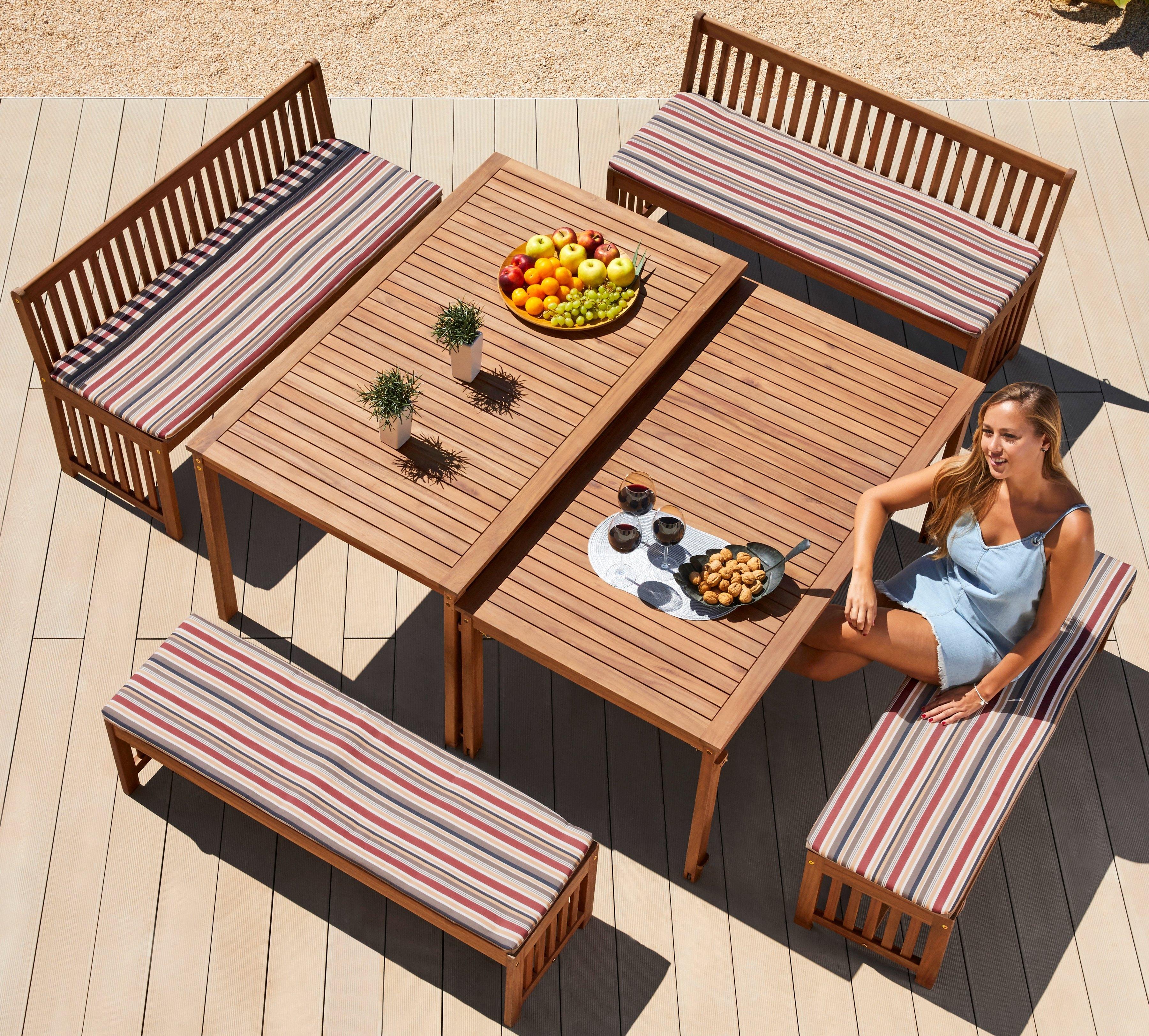 Op zoek naar een Merxx Tuinmeubelset »Hawaii«, 10 stks, 4 banken, 2 tafels, acaciahout, bruin? Koop online bij OTTO