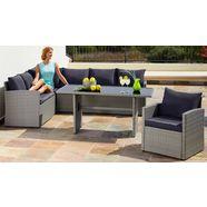 merxx loungeset »chicago«, 14-delig, hoekbank, stoel, tafel 145x70 cm, poly-rotan grijs