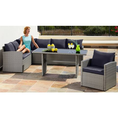 MERXX Loungeset Chicago, 14-delig, hoekbank, stoel, tafel 145x70 cm, poly-rotan