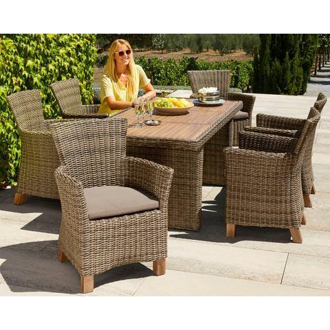 MERXX Tuinmeubelset Toskana, 13-dlg., 6 fauteuils, tafel 185x90 cm, poly-rotan/ acacia