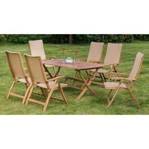 MERXX Tuinmeubelset Capri, 7-dlg., 6 klapstoelen, tafel 160x90 cm, acacia, inklapbaar