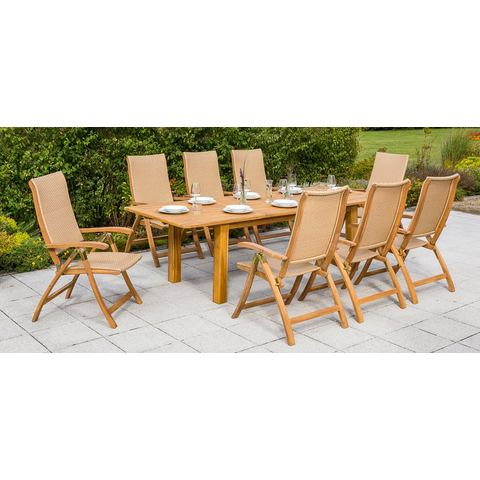 MERXX Tuinmeubelset Capri, 9-dlg., 8 klapstoelen, tafel 260x100 cm, acacia, beige
