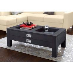 raum.id salontafel met 2 laden en glasinzetten grijs