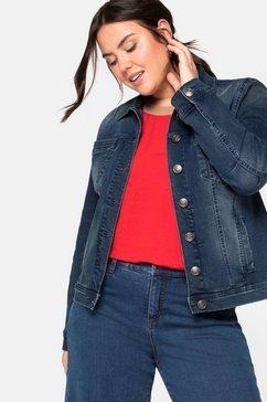 sheego jeansjack in modieus kort model blauw