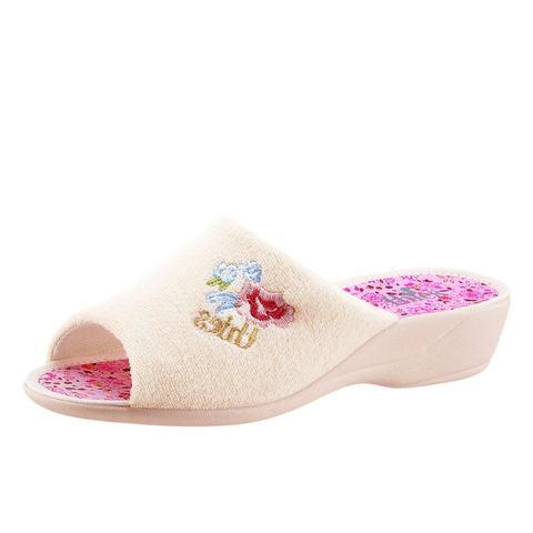 Thies NU 15% KORTING: Pantoffels met geborduurde bloemapplicatie