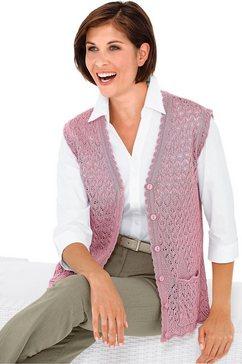 mouwloos vest met lichte glans roze