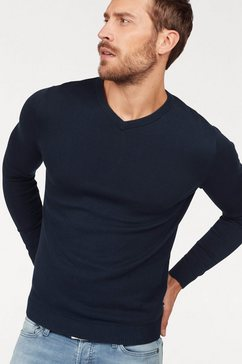 jack  jones trui met v-hals »jjebasic knit v-neck« blauw