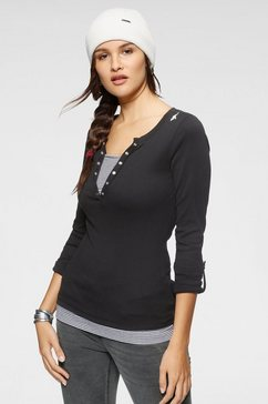 kangaroos 2-in-1-shirt met geopende sierknoopsluiting en turn-up mouwen zwart