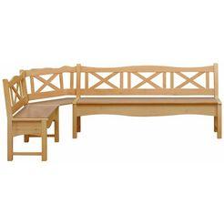 home affaire hoekbank »vanda«, met 2 opbergruimten en een groot zitoppervlak van massief hout beige
