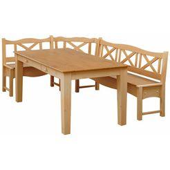 home affaire hoekbank met tafel »vanda«, 2-delig, van massief grenen beige