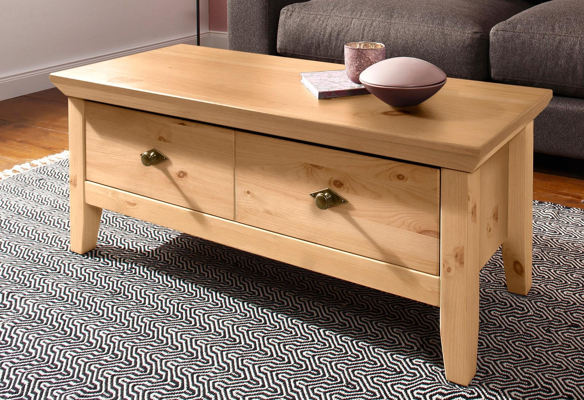 Salon Tafel Hout : Home affaire salontafel gali« van massief hout in twee