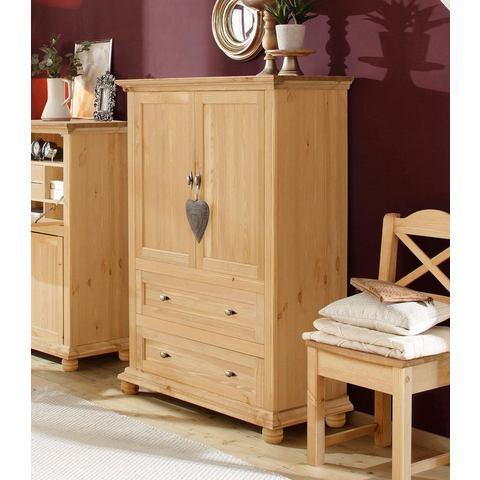 Home affaire linnenkast Irena van massief hout, met twee deuren en twee laden, breedte 99 cm