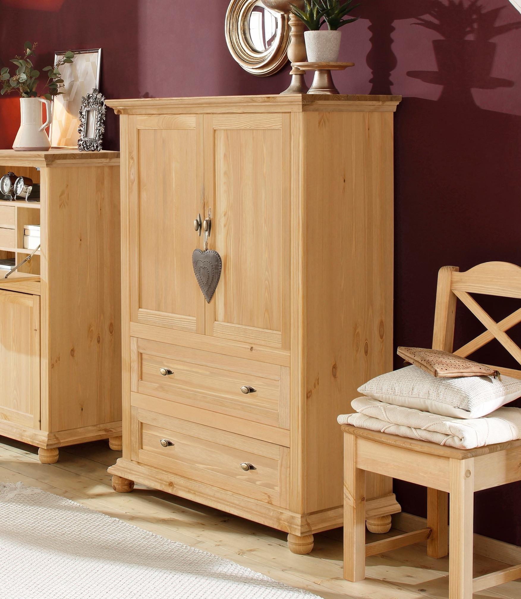 Home affaire linnenkast Irena van massief hout, met twee deuren en twee laden, breedte 99 cm online kopen op otto.nl