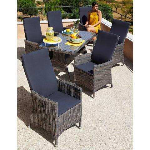 Tuinmeubelset Ravello, 13-dlg., 6 fauteuils, tafel 150x80 cm, poly-rotan