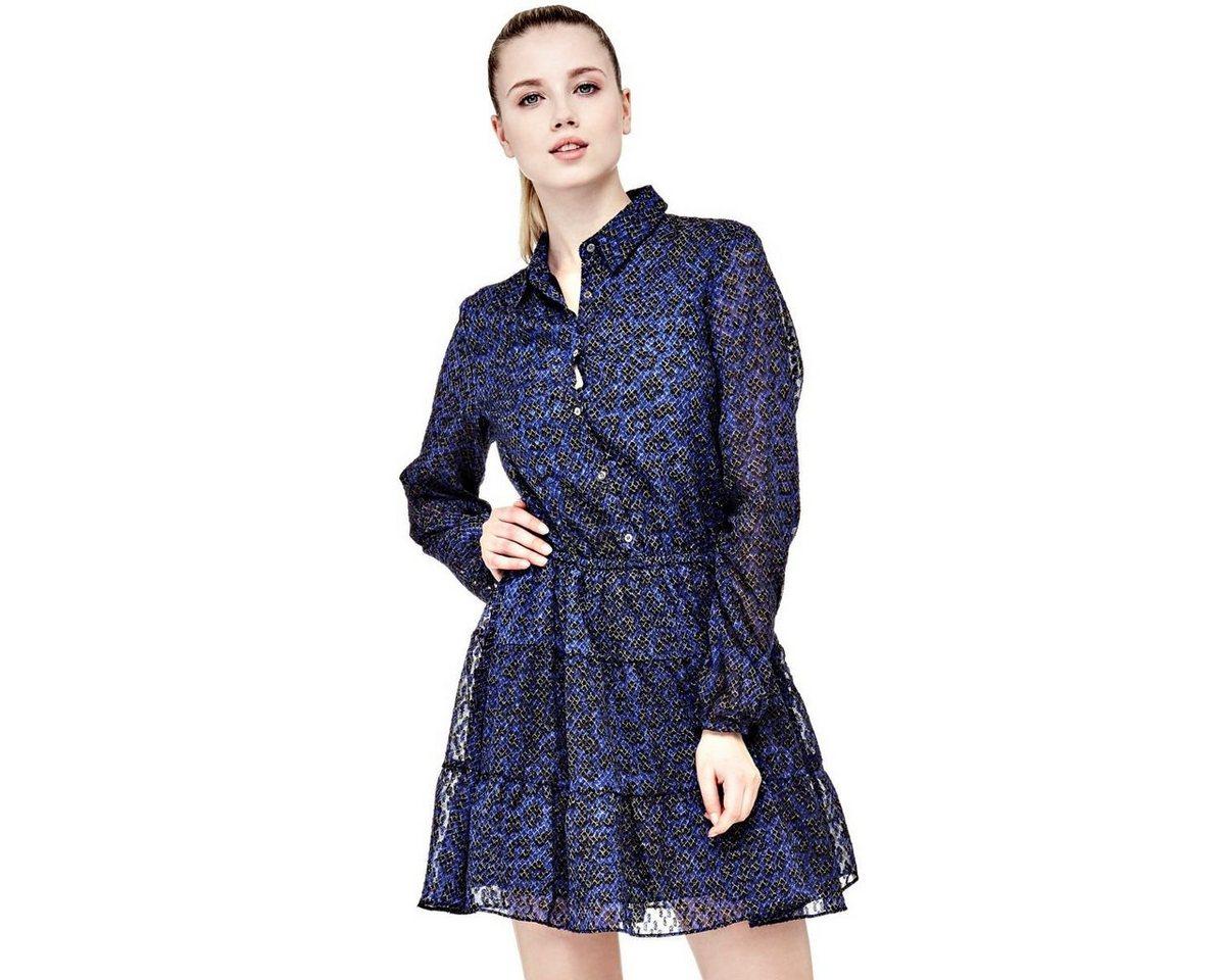NU 21% KORTING: Guess gedessineerde jurk met volants blauw