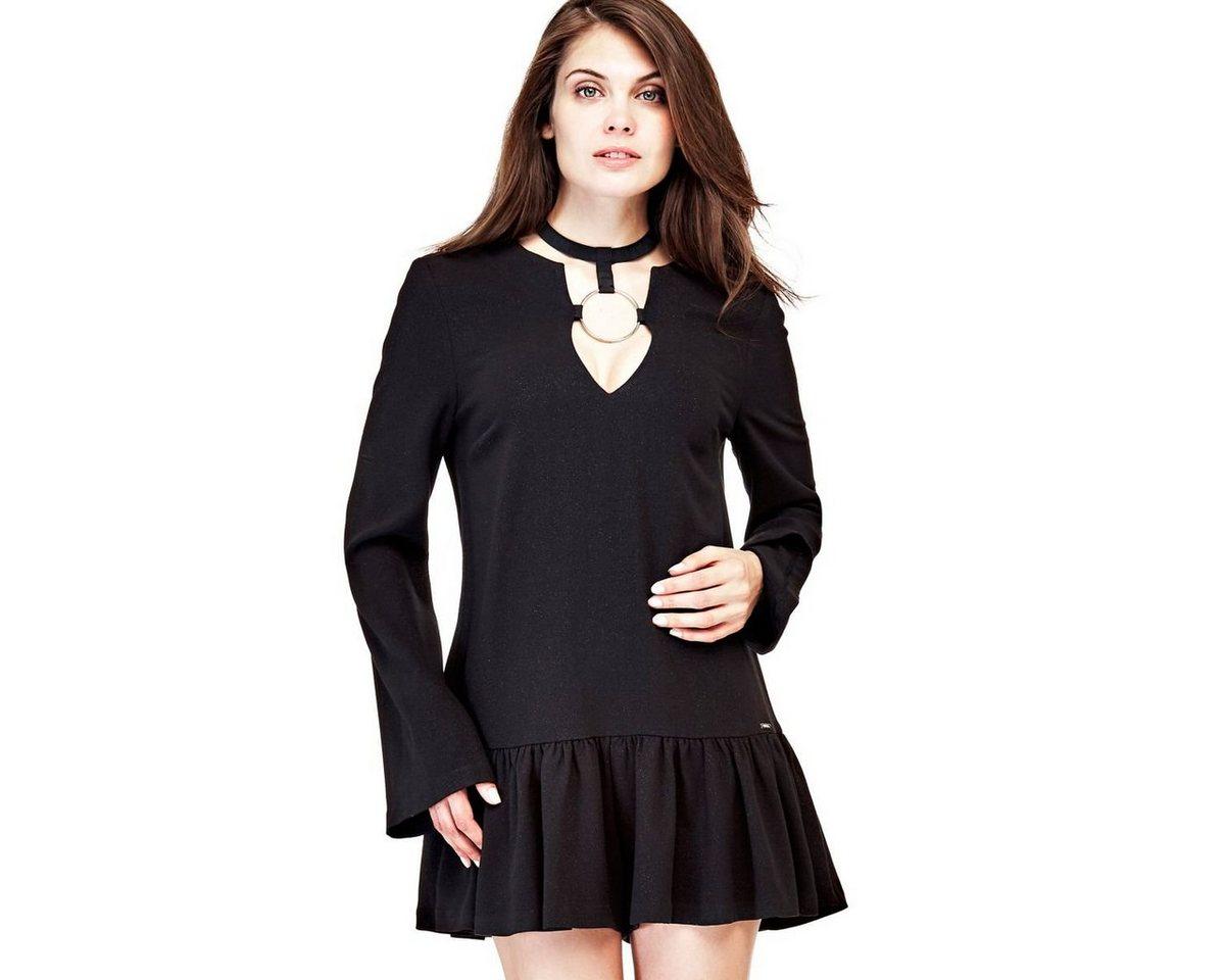 Guess jurk met T-hals en detail van metaal zwart