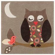 arte espina vloerkleed voor de kinderkamer joy 4190 harmonieus uilendesign, korte pool bruin