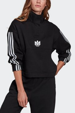 adidas originals sweatshirt »adicolor 3d trefoil fleece half-zip« zwart