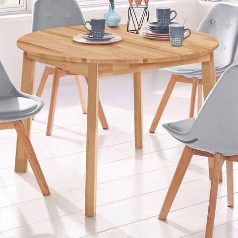 Eettafel rond Skagen, breedte 110 cm, met uittrekfunctie