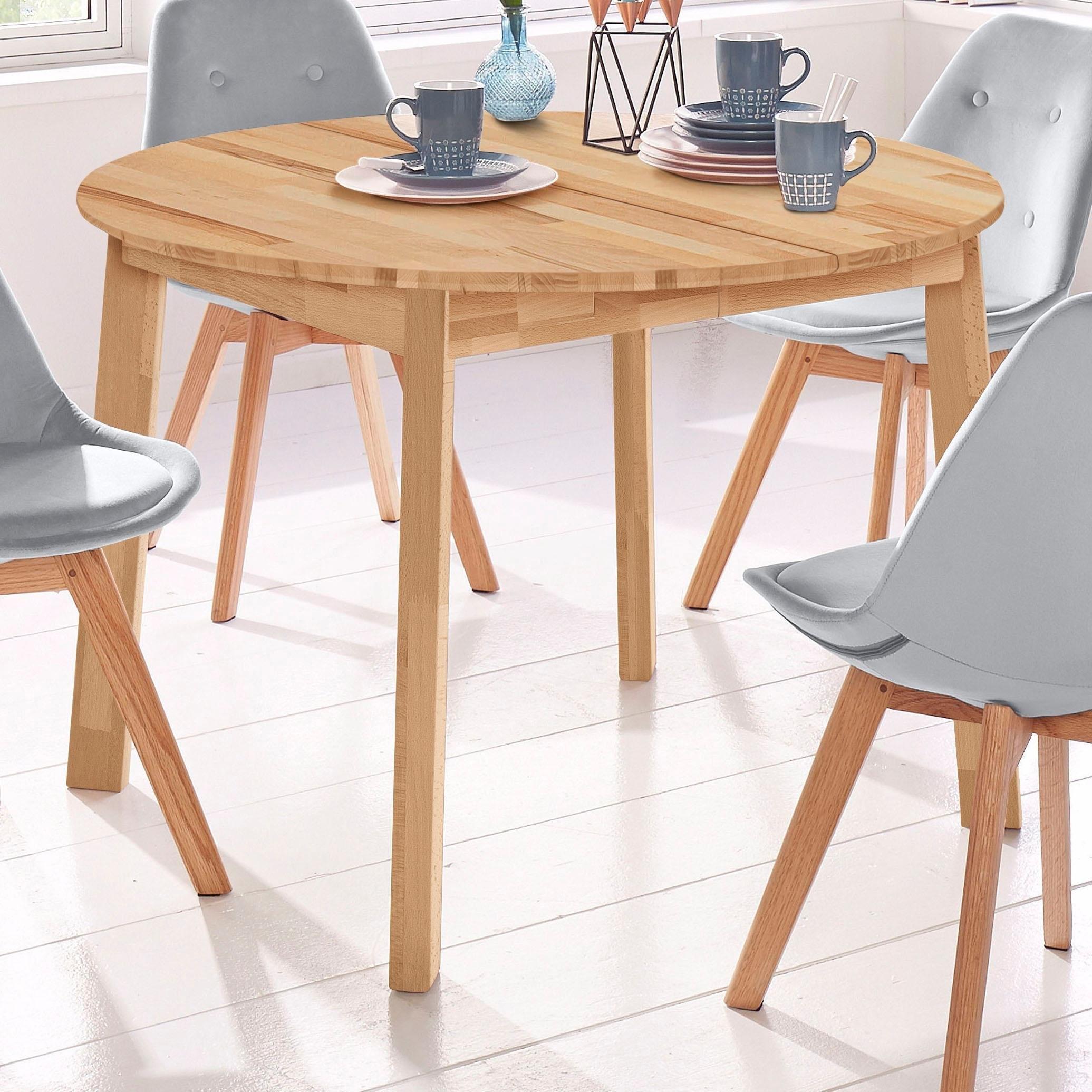 Eettafel rond skagen breedte 110 cm met uittrekfunctie for Eettafel rond