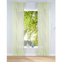 my home paneelgordijn dimona kant-en-klaargordijn, inclusief bevestigingsmateriaal, transparant (2 stuks) groen