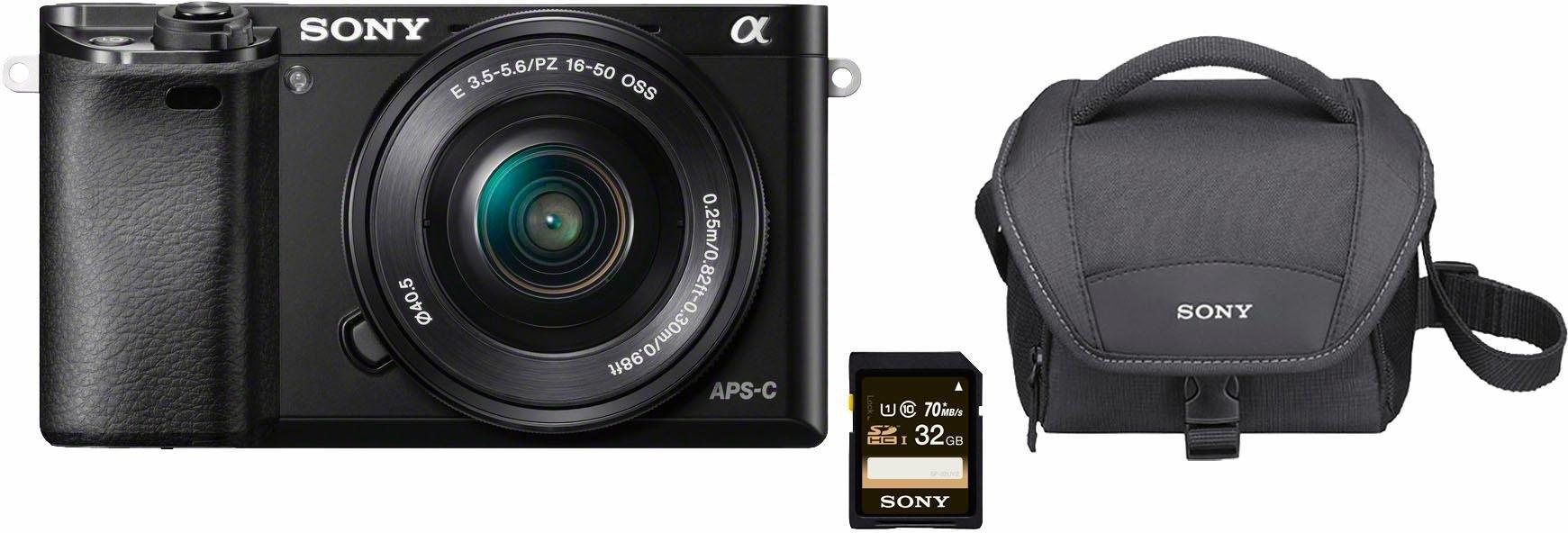 Sony Alpha ILCE-6000L systeemcamera, 16-50 mm zoom, incl. tas, 32 GB SD-kaart online kopen op otto.nl