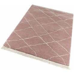 hoogpolig vloerkleed, »primrose«, freundin home collection, rechthoekig, 35 mm, machinaal geweven roze