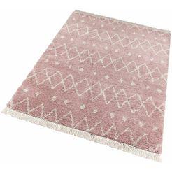 hoogpolig vloerkleed »calla«, freundin home collection, rechthoekig, hoogte 35 mm, machinaal geweven roze