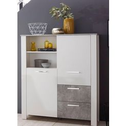 homexperts »zabona« highboard, breedte 116 cm wit