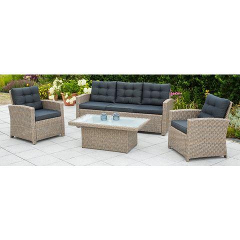 MERXX Loungeset Salzano, 15-dlg., 2 armstoelen, bank voor 3 personen, tafel, beige