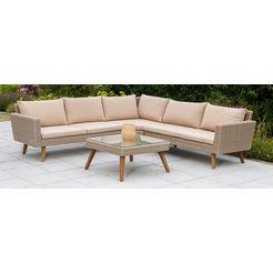 merxx loungeset »pamplona«, 15-dlg, hoekbank, tafel 70x70 cm, poly-rotan, incl. kussens 2014