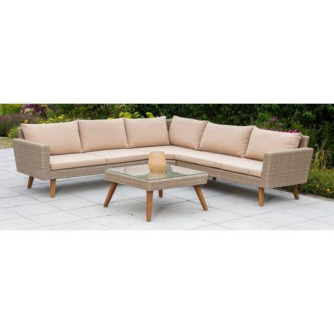 MERXX Loungeset Pamplona, 15-dlg, hoekbank, tafel 70x70 cm, poly-rotan, incl. kussens