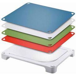 leifheit snijplank vario board met 4 veranderbare snijbladen (set, 5 stuks) wit
