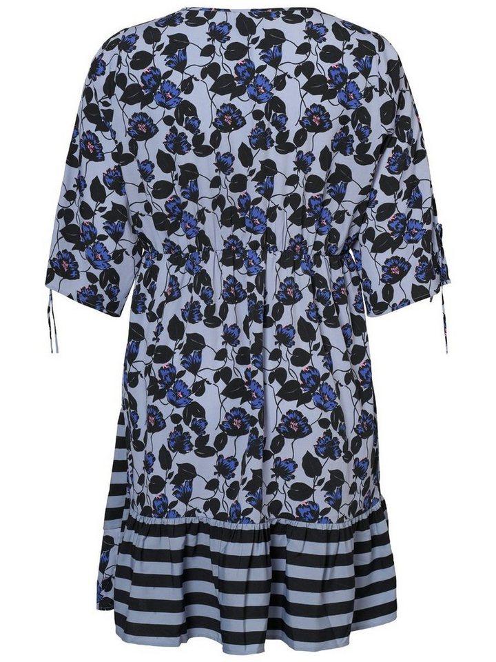 Junarose 3/4-mouw bedrukte jurk blauw