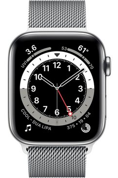 apple »series 6 gps + cellular, edelstahlgehaeuse mit milanaise armband 44mm« watch zilver
