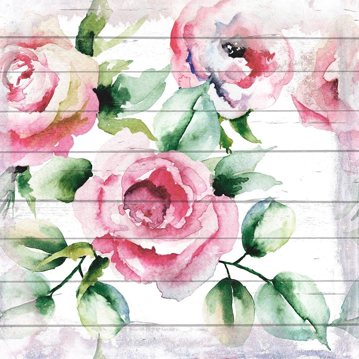 Queence Artprint op hout »Roze Bloesem«, 40x40 cm echt hout bestellen: 30 dagen bedenktijd