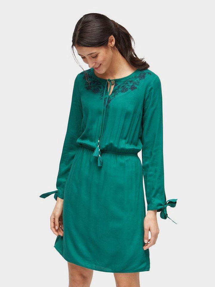 Tom Tailor jurk in A-lijn jurk met gebloemd borduursel groen